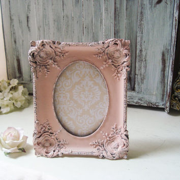 Coral Ornate 5 x 7 Picture Frame, Wedding Table Number Frame, Light Peach Blush Distressed Baroque Vintage Style Frame, Nursery Frame