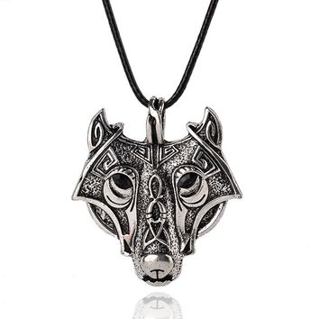 Original Animal Jewelry Wolf Head Norse Vikings Pendant Necklace Norse Wolf Head Necklace