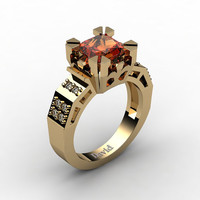 Modern Vintage 14K Yellow Gold 2.0 Carat Princess Orange Sapphire Diamond Solitaire Ring R1023-14KYGDOS