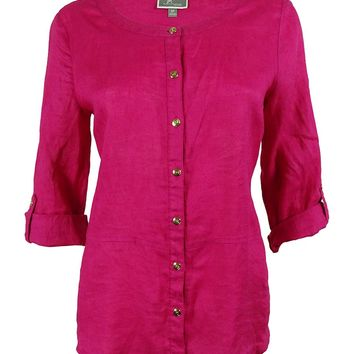 JM Collection Women's 100% Linen Button Down Shirt