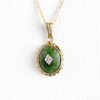 Vintage Yellow Gold Filled Nephrite Jade Diamond Pendant Necklace - Retro 1950s Dainty Oval Green Gem Charm on 14k Gold Filled Chain Jewelry