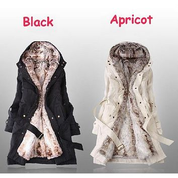 High Quality Hot Sale Fur Lining Thicken Hooded Belt Embellished Coat Women's Winter Warm Long Fur Coat Jacket Clothes