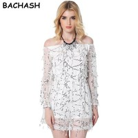 BACHASH 2017 Autumn Gold Sequin Embroidery Elegant Jumpsuit Romper Transparent Mesh Sleeve Playsuit Women Sexy Spring Summer B40