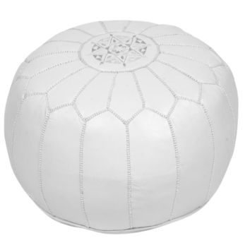 Moroccan Leather Pouf Ottoman with Embroidery in Divinely White