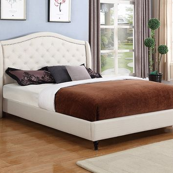 "New Century® Ivory Linen Upholstered 53"" Tall Headboard Platform Bed"