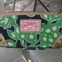 NWOT LILLY PULITZER ORIGINALS CASE MAKEUP JEWELRY BAG CLUTCH GOLD GREEN PINK