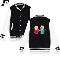 LUCKYFRIDAYF South Park Cartoon Long Sleeve Baseball Jacket Women Spring Jacket Black And White Womens Winter Jackets And Coats