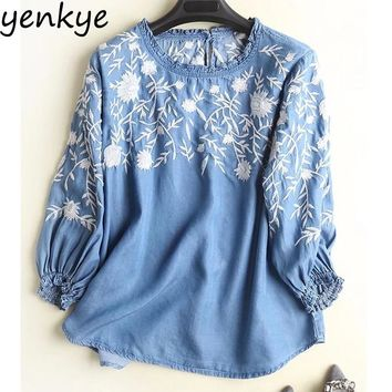 2018 Vintage Blue Tencel Denim Blouses Women O Neck Three-Quarter Sleeve Floral Embroidered Shirt Plus Size Summer Tops