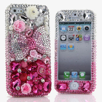 iPhone 5 5S 5C 4/4S - Samsung Galaxy S3 S4 Note 2 3 -Handcrafted Case Cover 3D Luxury Bling Crystal Diamond Silver Pink Magenta Rose Bow_366