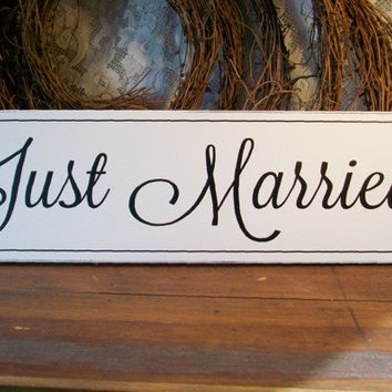 Just Married Wedding Sign Wood Bride and Groom