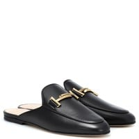 Double T leather slippers