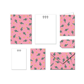 Printable Stationary Set - Cactus - Notes / Card / Gift Tag / Envelope