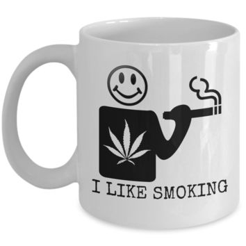 I Like Smoking Coffee Mug - Black Logo (Front Only)