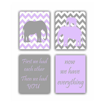 First we had each other, Elephant family wall art, Baby Girl Nursery, SET 4, Animals nursery, Safari nursery decor, Purple, Kids wall art