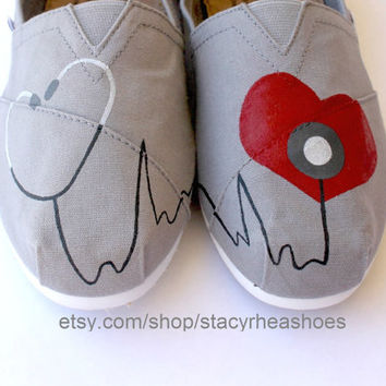 Nurse or Doctor Toms by StacyRheaShoes on Etsy