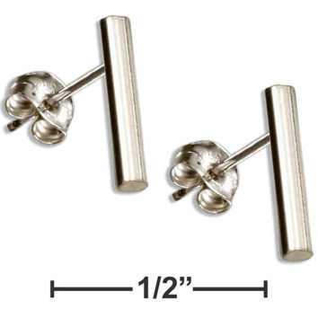 STERLING SILVER SIMPLE ROUND BAR POST EARRINGS