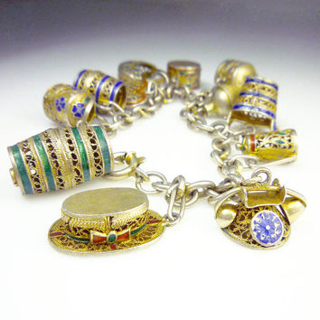 Chinese Export Charm Bracelet Sterling Silver Gilt Enamel Antique Jewelry