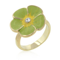 Light Green Enamel Floral Ring, size : 09