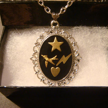 Pendant Necklace with a Heart ,Star and Lightning Bolts (1017)