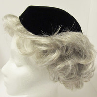 Vintage Black Velvet Ladies Hat from The Hecht Co. - Tilt Hat, Triangle Hat, Skull Caplet