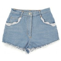 Rokit Recycled Pale Blue Denim Cut Off Hotpants W30 | Rokit Recycled | Rokit Vintage Clothing