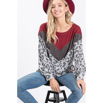 Burgundy and Grey V Print Leopard Sleeves Top (S-3X)