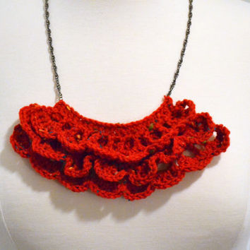 Red Bib Necklace, Crochet Ruffle Necklace, Statement Necklace, Twist Chain, Womens Jewelry, Handmade