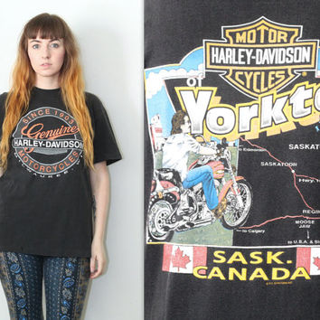 Vintage 90s Americana // Harley Davidson Graphic T Shirt // Travelling Biker Canada Tee // One Size / XS Small Medium Large