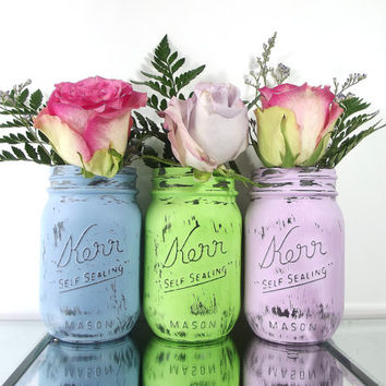 Spring, Home Decor - Hand Painted Mason Jars - Set of Three, Rustic, Painted Mason Jars -- Green, Blue and Purple