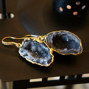 Stunning Starry Night Geode Druzy Earring - Agate Geode - Geode Earrings - Geode Jewelry - Druzy Earrings - Druzy Jewelry