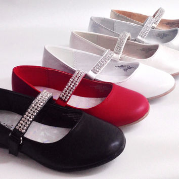 Girls Little Angels Kelly767 PAGEANT WEDDING Faux Leather Patent Leather Rhinestone Strap Ballerina Flats Shoes