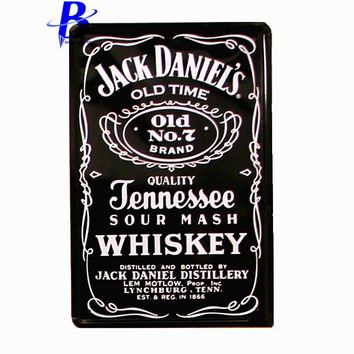 Vintage Home Decor Jack Daniel's Old Time Wall Stickers Decor Iron Retro Tin Metal Signs Plaques Tin Sign Ustom Neon Sign Ajax