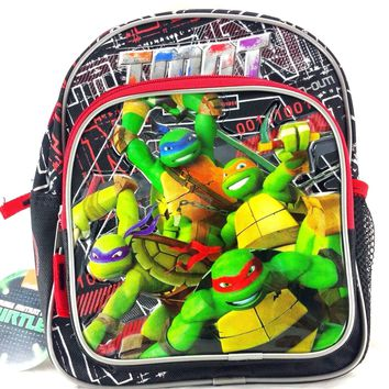 "Licensed Teenage Mutant Ninja Turtles 10"" Canvas Black & Red School Backpack"