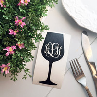 Wine Glass Monogram Decal - Monogram Decal - Wine Decal - Wine Lover - Vino - Laptop Decal - Car Decal - Alcohol Decal