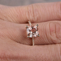 8mm Cushion Morganite Engagement ring Rose gold,Diamond wedding band,14k,Gemstone Promise Ring,Bridal Ring,Thin band,Can custom made setting
