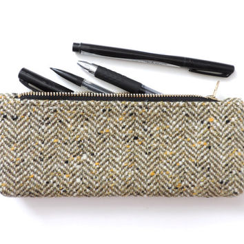 Wool Pencil Case Zipper Pencil Pouch Herringbone