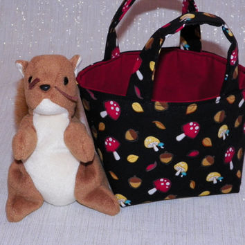 Forest Fun Teeny Tote Bag with Plush Squirrel Mushrooms on Black