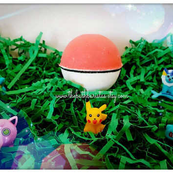 Pokemon Pokeball Bath Bomb with Mystery Pokemon Toy Inside!!