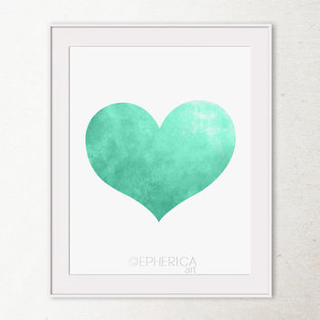 Printable heart art print, Mint green heart print, Valentines decor Wall print, Printable wall art, Mint wedding decor Mint green wall decor