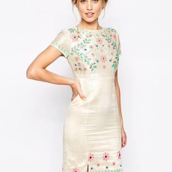 Frock and Frill 3D Floral Embroidered Pencil Dress With Stepped Hem