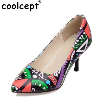 Size 32-45 Women Pumps 2016 Hot Leather Sexy Pointed Toe Ladies High Heel Shoes Wedding Court Floral Shoes Footwear