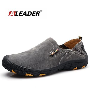 Slip On Men Shoes Leather Mens Casual Shoes Outdoor Men Moccasin Loafers Suede Leather Shoes