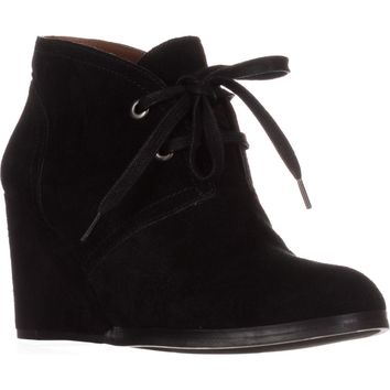 Lucky Brand Seleste Lace Up Wedge Booties, Black, 6.5 US / 36.5 EU