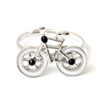 Bicycle Ring Adjustable White Silver Tone Vintage Fixie Bike RA32 Retro Velo Crystal Cyclist