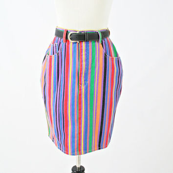 vintage 90s denim rainbow FRUIT STRIPES mini skirt size M