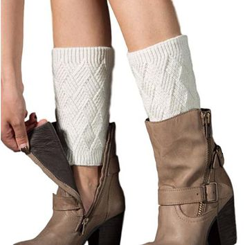 [16397] Knit Diamond Pattern Leg Warmer