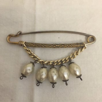 Vintage Safety Pin Brooch-Pin, Hanging Teardrop Pearl Accents, Unique, 1950's, 1960's,
