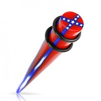 Rebel Flag Acrylic Taper with O-Rings - Sold as a Pair