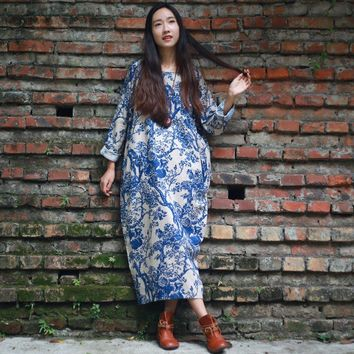O-neck Long sleeve Plus size Print Women Dress Vintage Chinese style Loose Summer Dress Oversized Long Robe Gown Dress A013