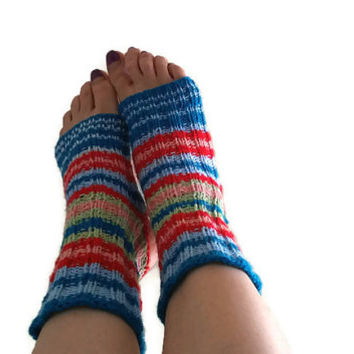 Hand knitted yoga socks Flip flop socks Pedicure socks Spa Socks Pilates socks Dance socks Ballet socks  Yoga Leg Warmers toeless socks